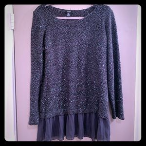 Alfani Gray & Teal Sparkly Layered-Look Sweater